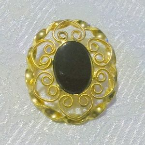Vintage Filigree Black Glass Cabochon Brooch